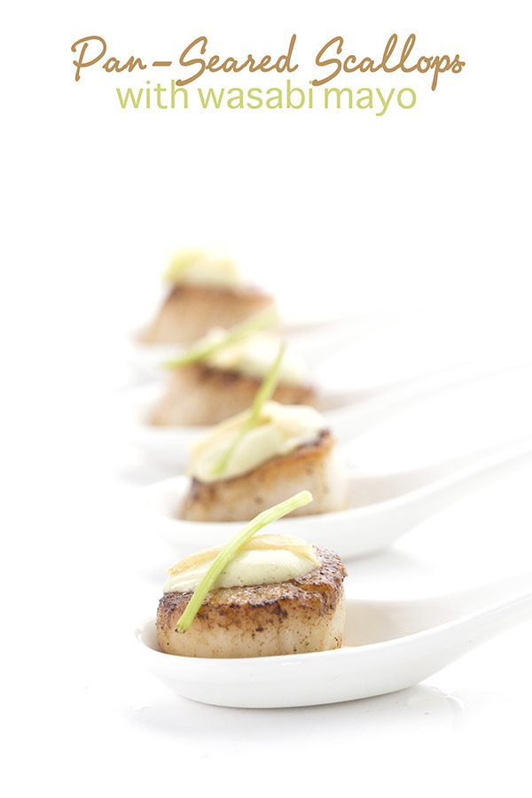 Low carb pan-seared scallops with spicy wasabi mayo. A great appetizer or light meal.