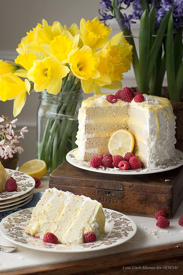 Low Carb Coconut Lemon Layer Cake Recipe