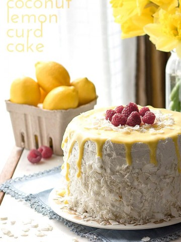 Stunning low carb Easter dessert! Grain-free sugar-free coconut lemon curd cake