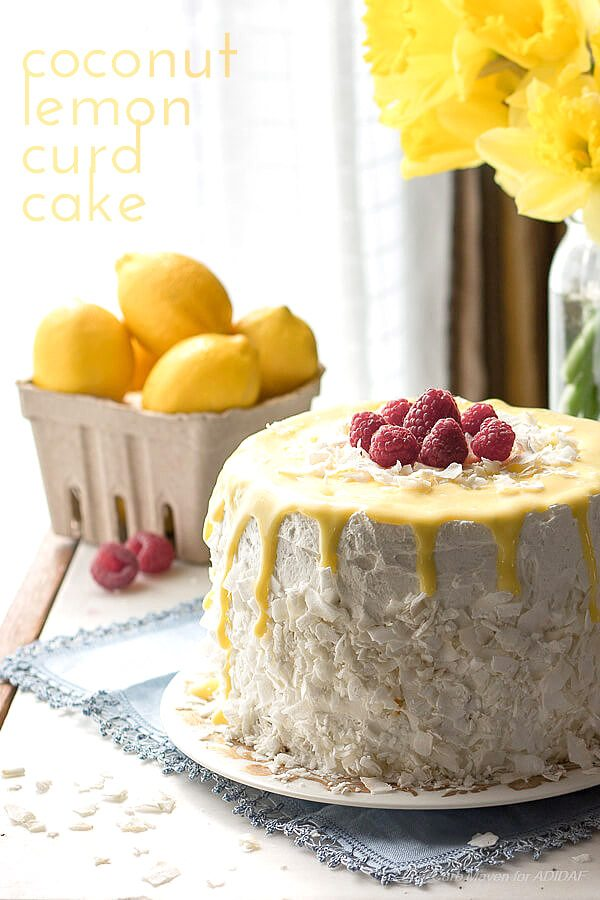 Stunning low carb Easter dessert! Grain-free sugar-free coconut lemon curd cake