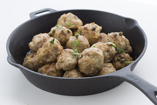 Delicious low carb grain-free chicken meatballs with a buttery piccata sauce