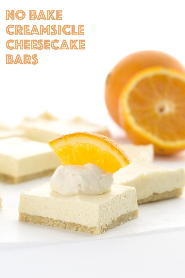 Creamy dreamy no bake Creamsicle Cheesecake Bars. Low carb and grain-free.