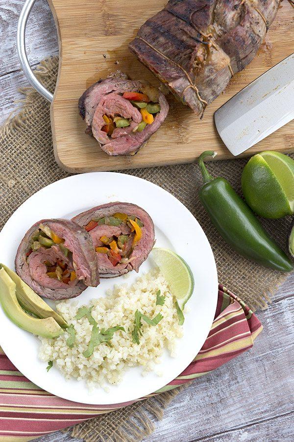 A delicious keto dinner recipe. Fajita Stuffed Grilled Flanks Steak