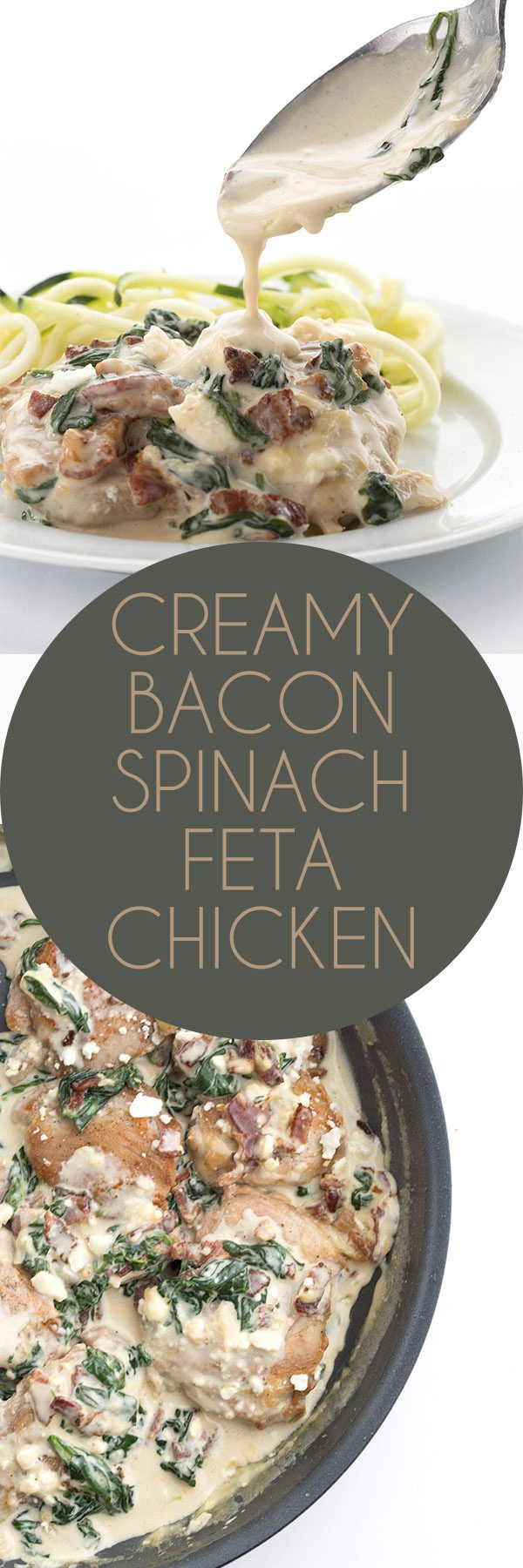This easy keto skillet chicken recipe will knock your socks off. So creamy and delicious, with bacon, spinach, and feta. Serve over zucchini noodles for the ultimate low carb dinner.