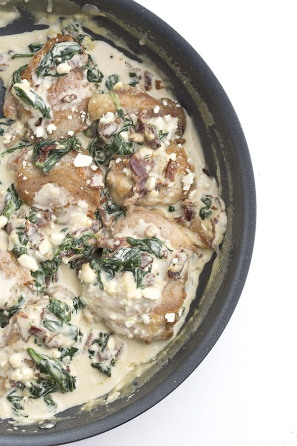 Easy one pan keto recipe. Creamy Bacon Spinach Feta Chicken