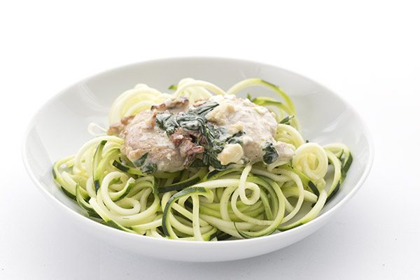 Low carb pan-seared chicken with a bacon spinach cream sauce. Serve over zucchini noodles for an easy low carb dinner!