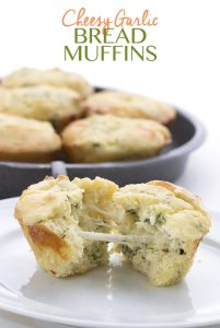 Gooey cheesy low carb garlic bread muffins
