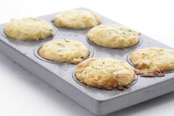 Savoury keto muffins with cheese and garlic butter.
