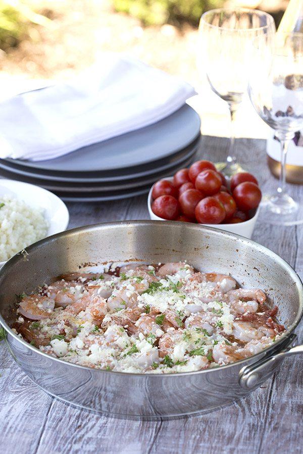 Easy Keto dinner recipe - Greek shrimp with tomatoes and feta
