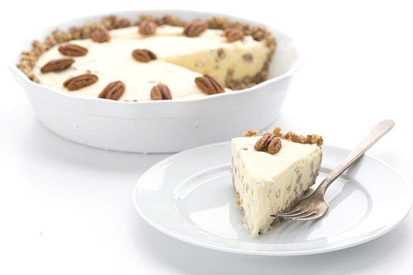 Best keto dessert of the summer! Butter Pecan Ice Cream in a grain-free pecan crust.