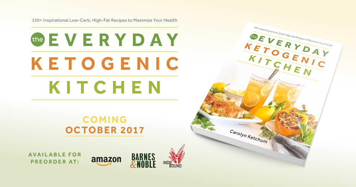 promotional information for The Everyday Ketogenic Kitchen cookbook