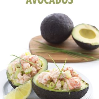Delicious and healthy avocados stuffed with the fillings of a lobster roll! Low carb.