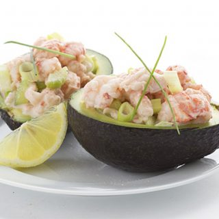 Easy keto meal idea: lobster roll stuffed avocados