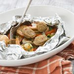 Low carb keto Sausage Shrimp Foil Packets