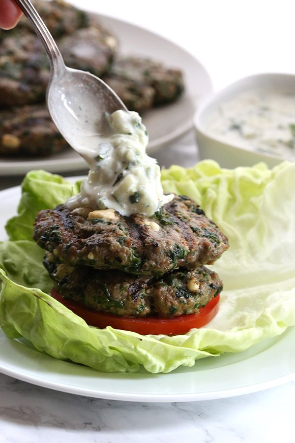 Low Carb Spinach & Feta Burgers