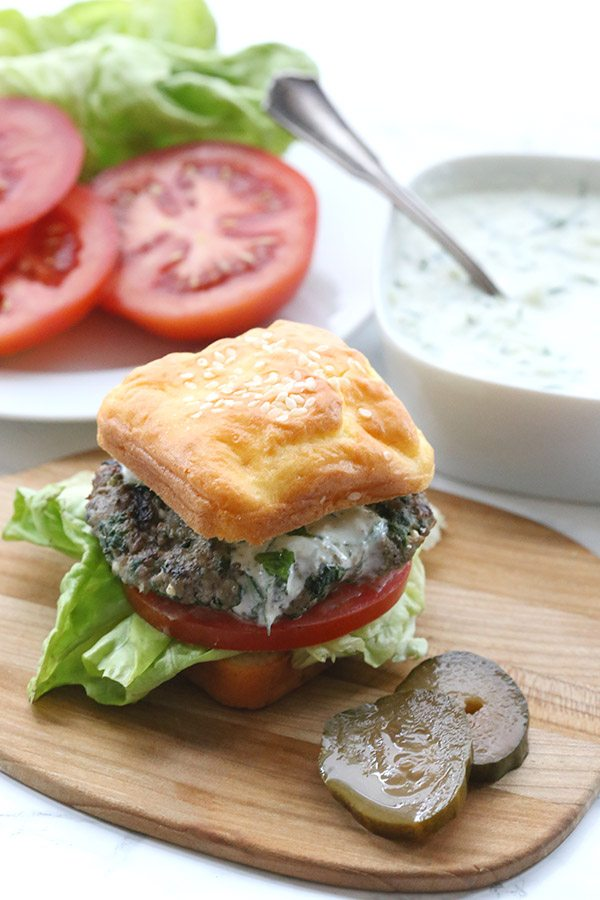 Spinach and Feta Lamb Burgers with Tzatziki