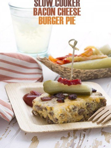 Easy Keto Bacon Cheeseburger Pie made in your slow cooker!