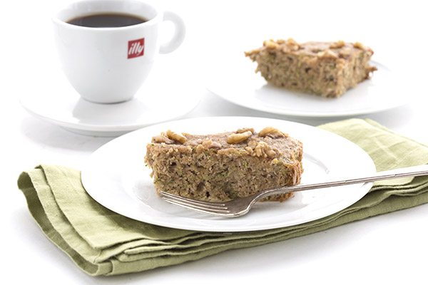 Slow cooker low carb zucchini bread on a white plate.