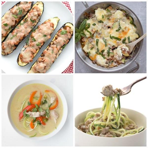 Collage of Keto Zucchini Dinner Recipes