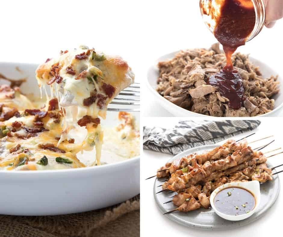 A collage of three of my kids favorite keto dinner recipes.