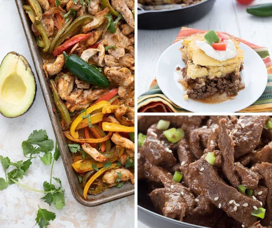 A collage of keto chicken fajitas, tamale pie, and mongolian beef.