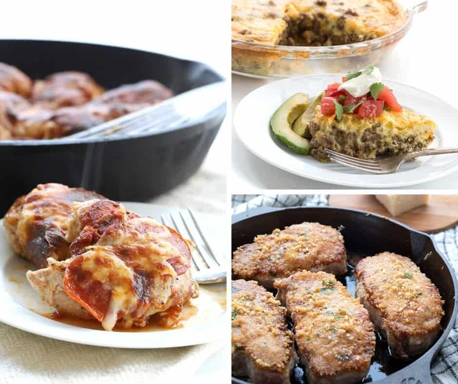 A collage of keto pizza chicken, taco pie, and parmesan crusted pork chops