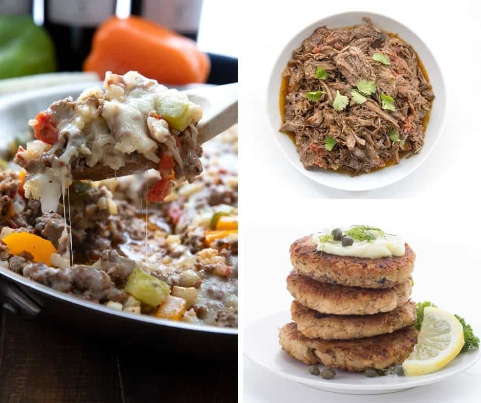 A collage of three easy family meals