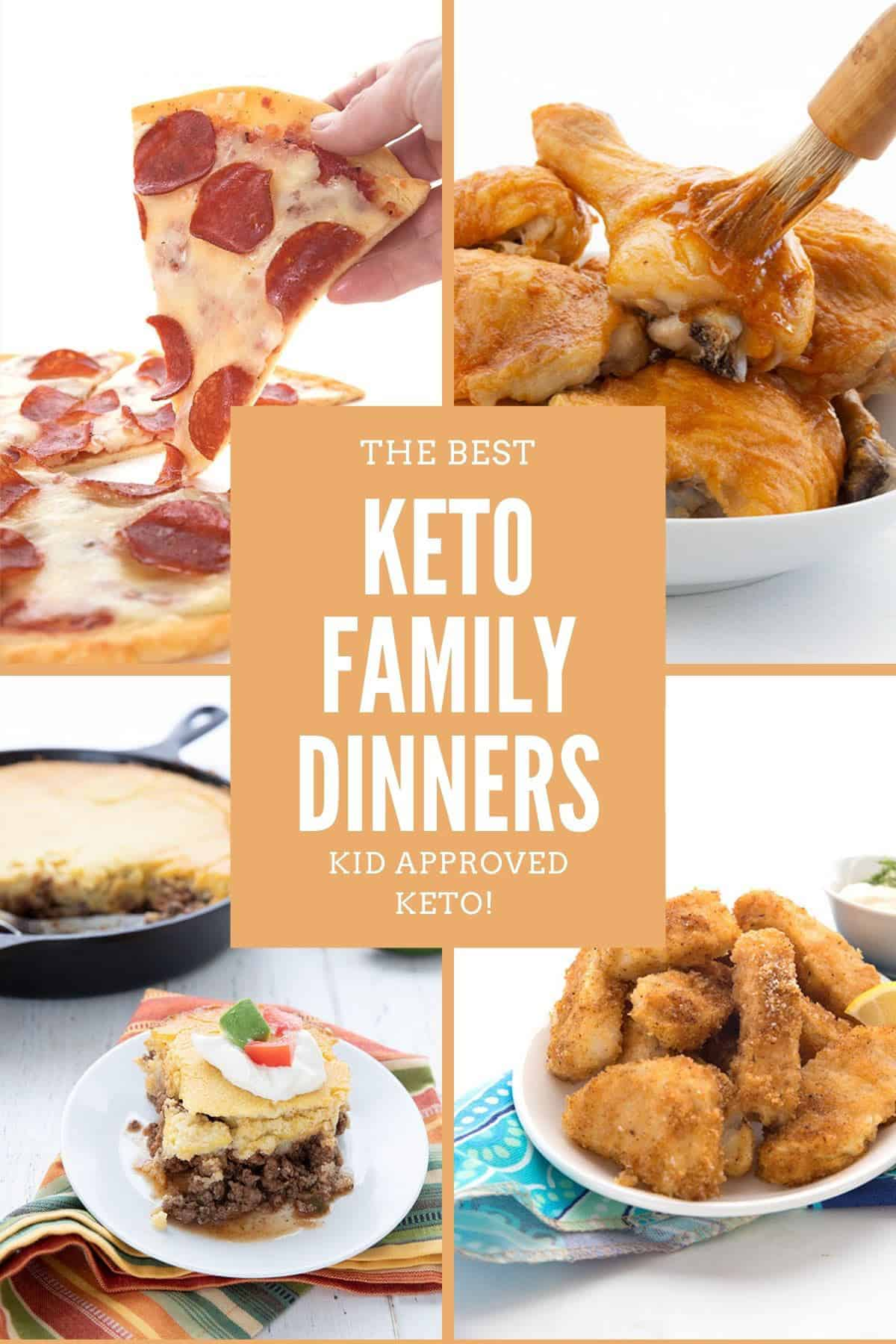 Titled collage of keto family meals