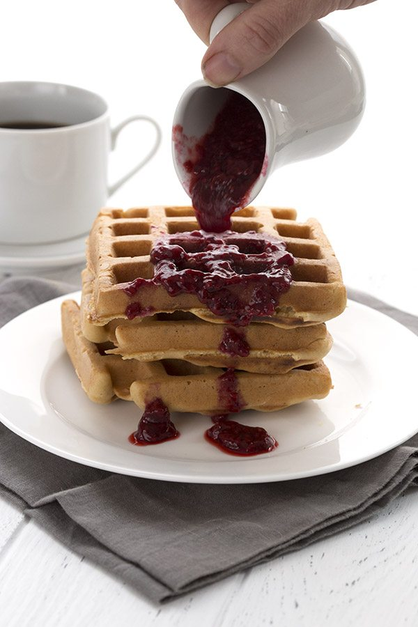 Easy Blender Waffles with Raspberry Syrup - low carb and sugar-free.