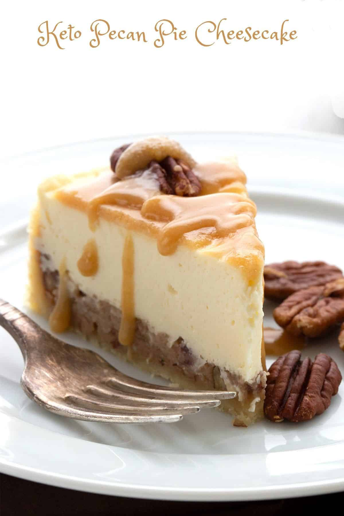 A slice of keto pecan pie cheesecake on a white plate.