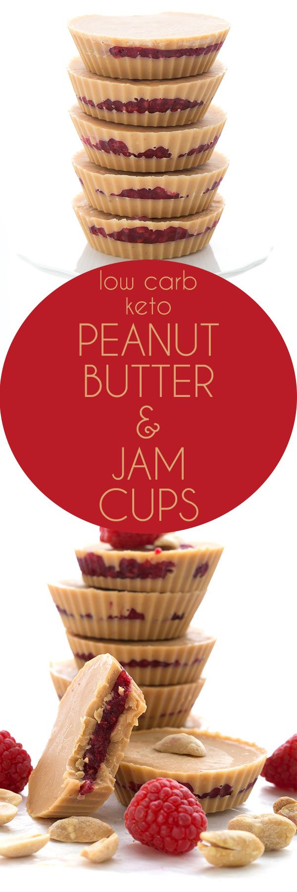 Delicious low carb Peanut Butter and Jam Cups - these easy keto fat bombs taste just like your favorite childhood sandwich. #keto #lowcarb #fatbombs