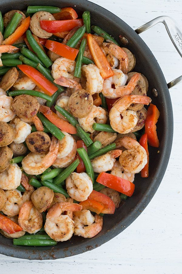 Low Carb Shrimp & Sausage Skillet