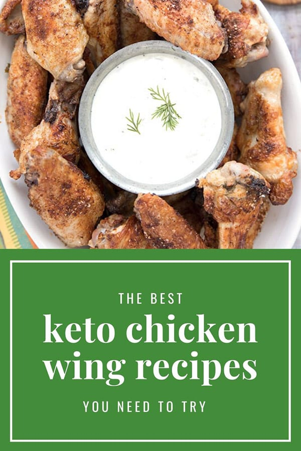 Titled image with a close up shot of keto chicken wings
