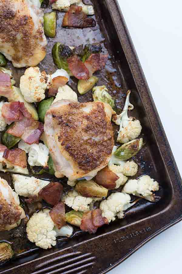 Dig into this easy Sheet Pan Chicken & Veggies. A family favourite!