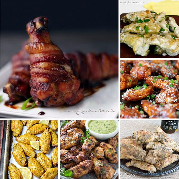A square collage of keto chicken wing recipes