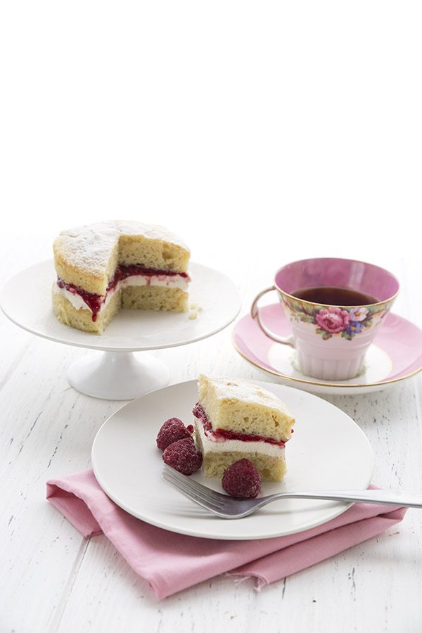 A sweet for your sweetie, this keto almond flour cake features a delicious raspberry cream filling