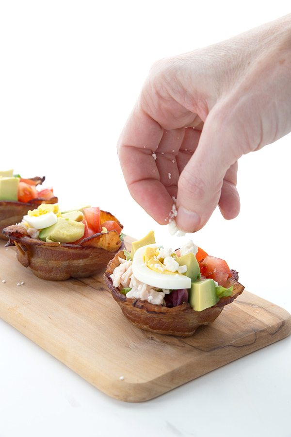 Low Carb Cobb Salad Bacon Cups with Bleu Cheese