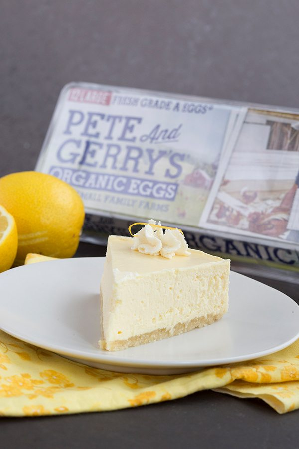 A slice of Instant Pot Lemon Cheesecake with Pete and Gerry's Eggs