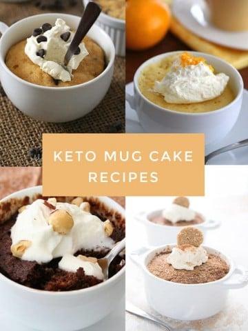 Titled collage of keto mug cake recipes