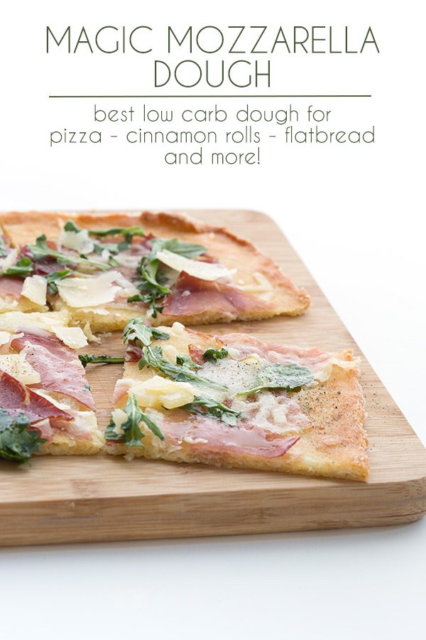 Keto Magic Mozzarella Dough made into flatbread with prosciutto and arugula