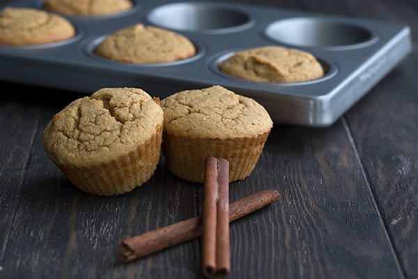 Keto Cappuccino Muffins in the pan with cinnamon sticks