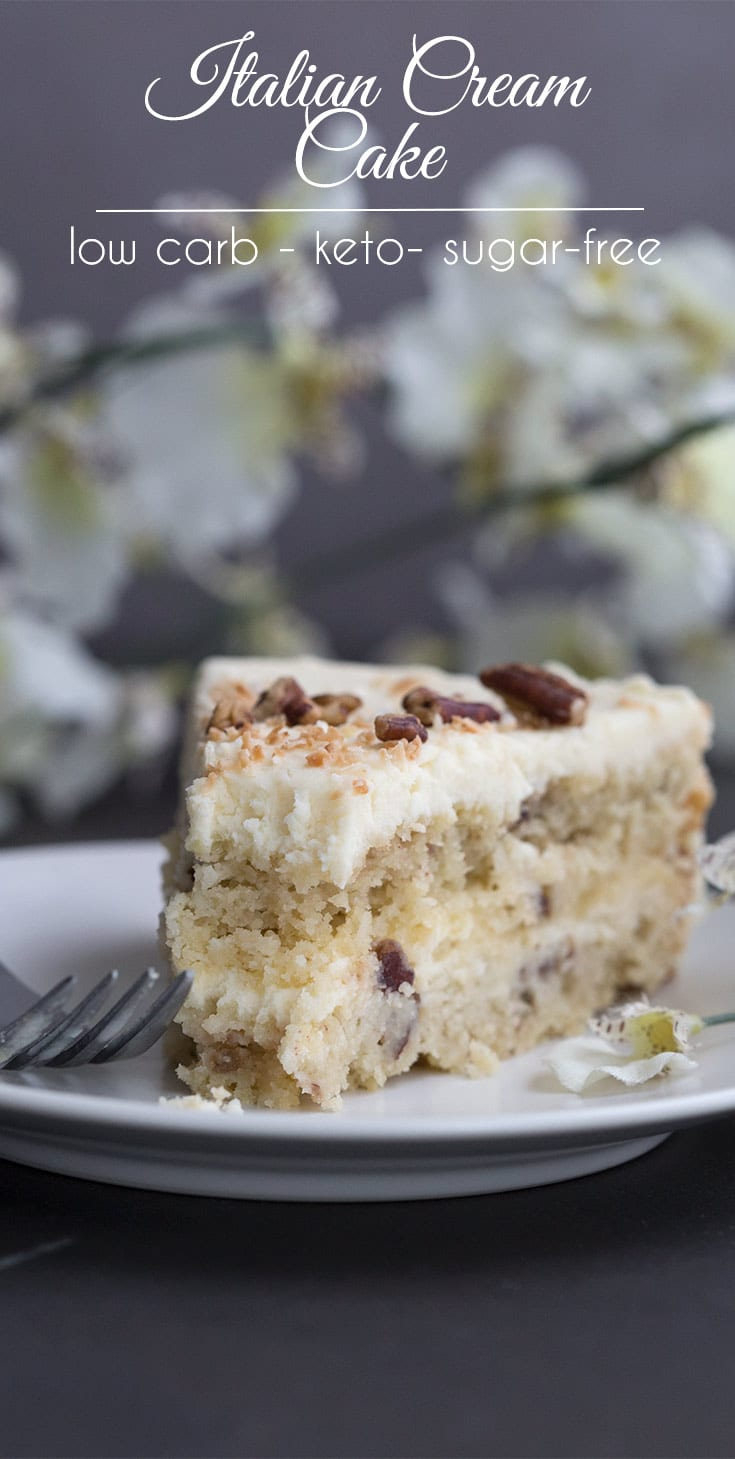 This may be the most divine low carb layer cake you will ever make. So creamy and rich and only 5g total carbs per slice! #keto #ketodessert #ketorecipes #italiancreamcake #lowcarb