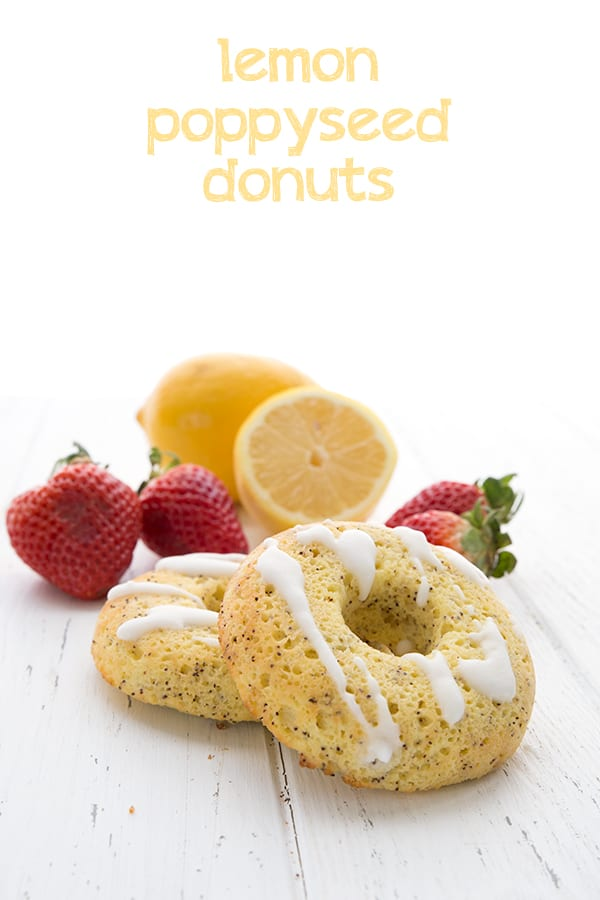 Keto Lemon Poppyseed Donuts with lemons and strawberries