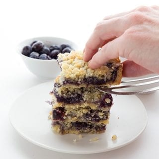 Low Carb Blueberry Breakfast Bars in a stack