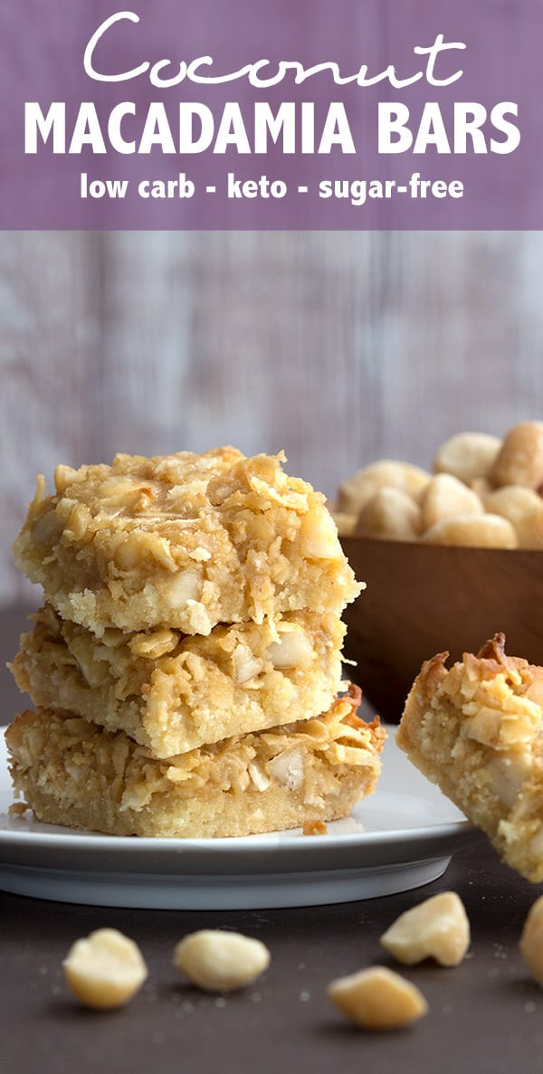 Keto Coconut Macadamia Bars - a delicious almond flour shortbread crust with a rich butter sugar-free topping #keto #lowcarb #ketorecipes #ketodessert