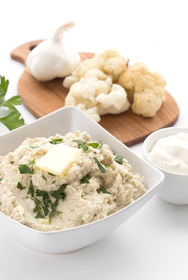 Low Carb Mashed Cauliflower Recipe with sour cream, butter, and garlic