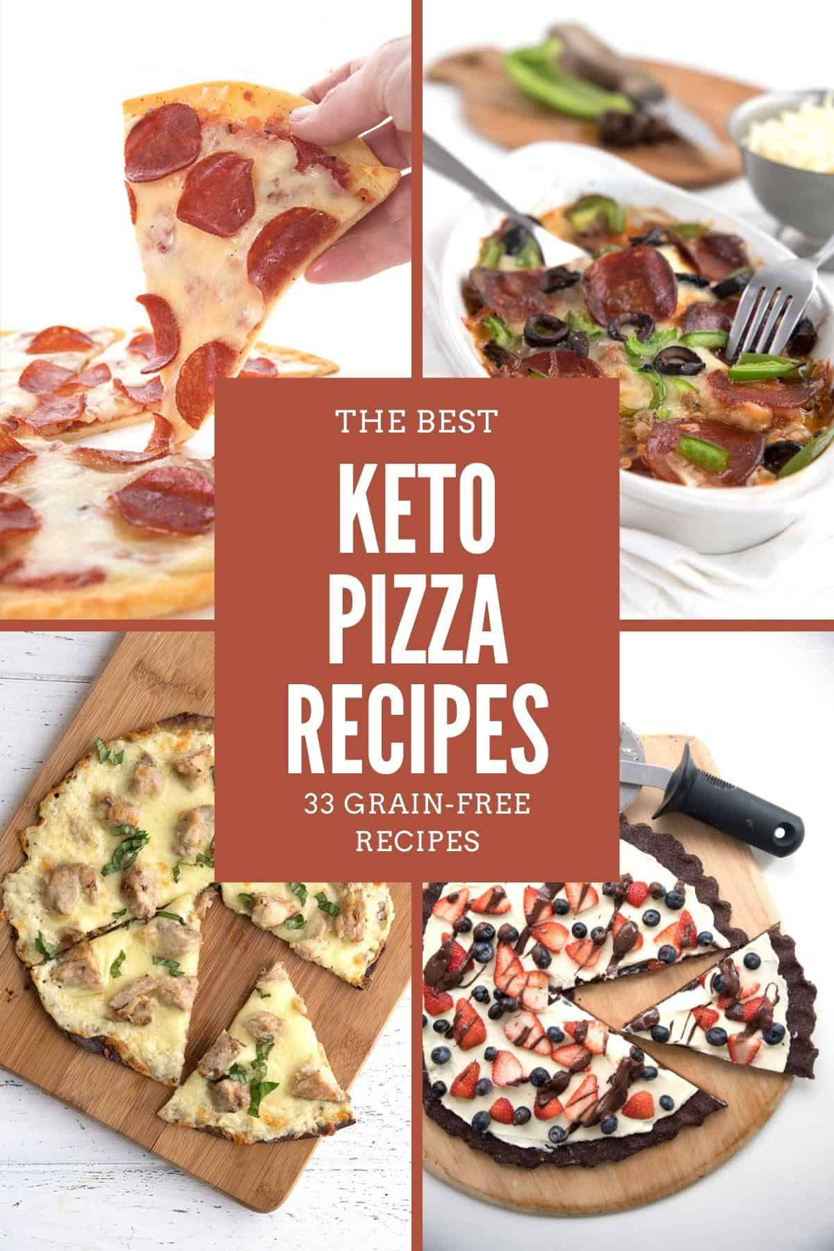 Collage of Keto Pizza Recipes with a title in the center.