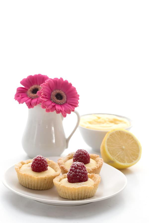 Low Carb Lemon Curd Tartlets with Raspberries