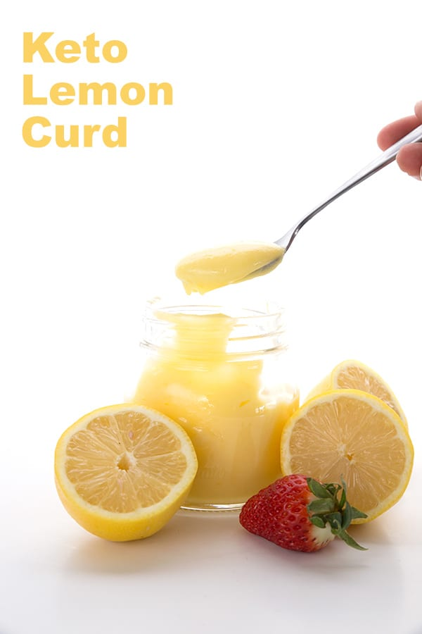 Easy Keto Lemon Curd Recipe in a jar with lemons