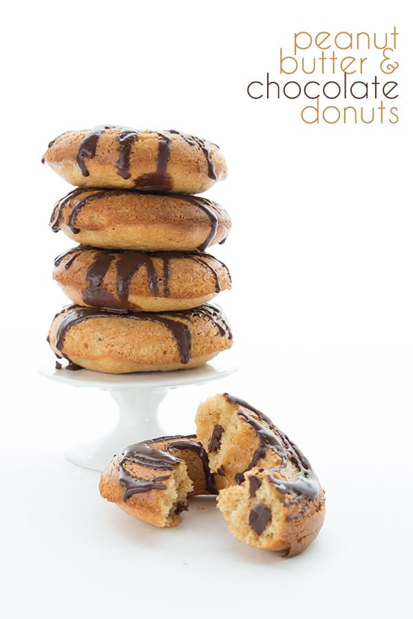 Low Carb Peanut Butter and Chocolate Donuts in a stack with title